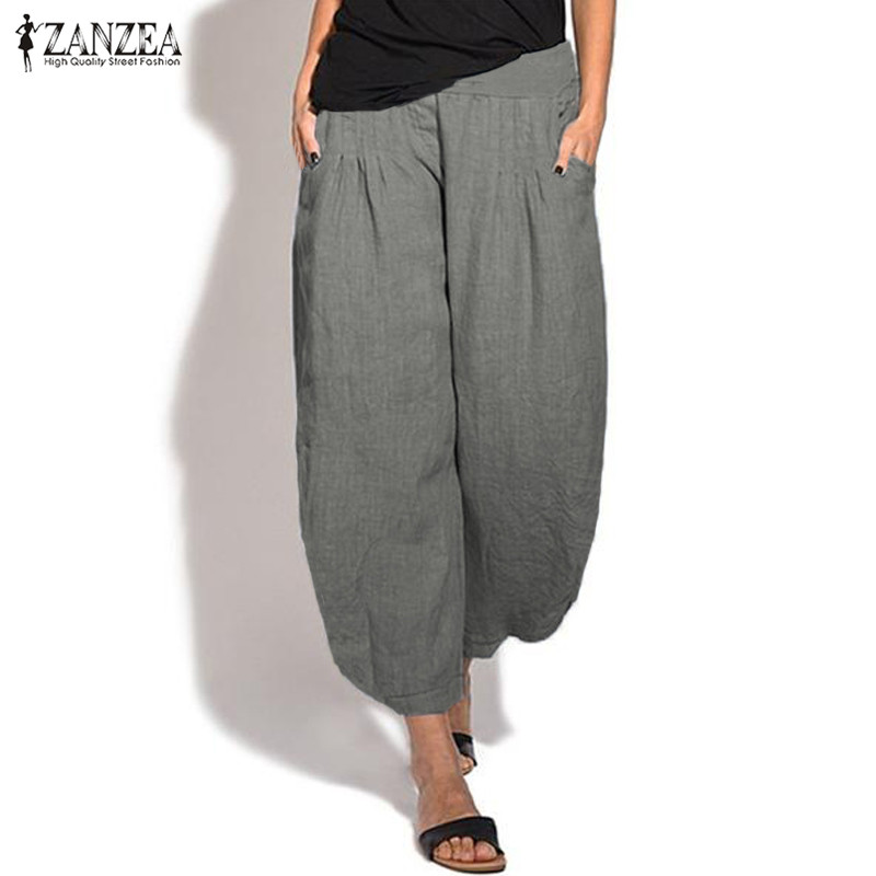 2019 Summer   Wide     Leg     Pants   ZANZEA Women Elastic Waist Casual   Pants   Harem   Pants   Female Solid Trousers Loose Pantalon Plus Size