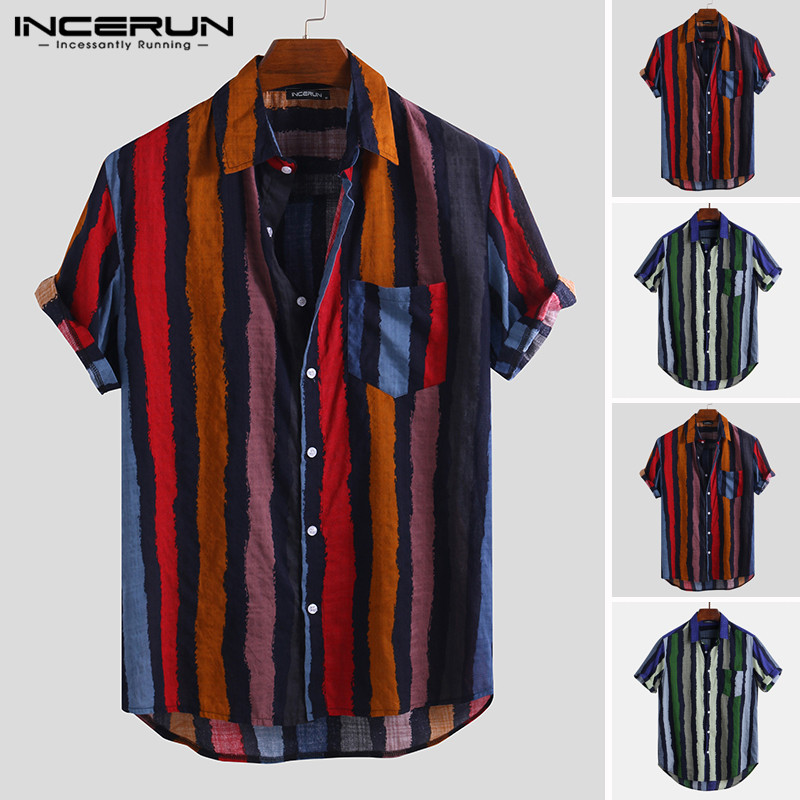 INCERUN Men Shirt Striped Button Loose Pockets Retro Short Sleeve Vintage Blouse Stylish Casual Brand Shirts Men 2020 Streetwear