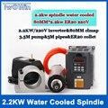 Kit 2.2KW Refrigerado A água Do Eixo Fresagem CNC Eixo Do Motor 2.2KW + VFD + 80mm braçadeira + bomba de água/tubo + 13 pcs ER20 para CNC Router