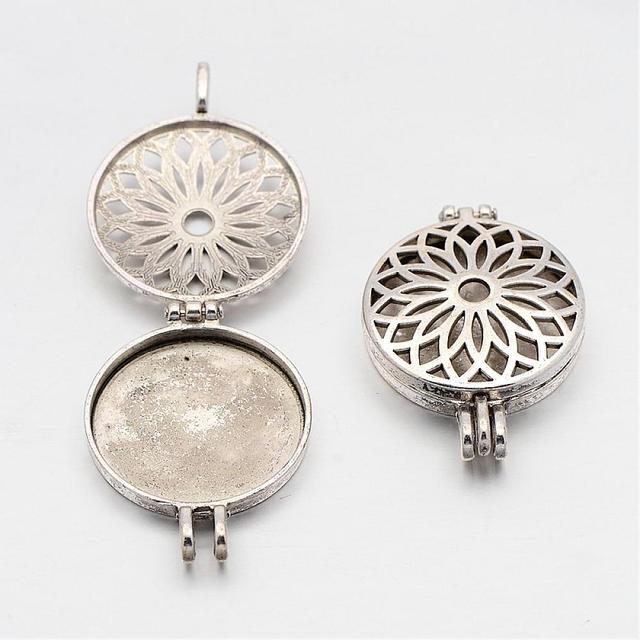 50pcs Alloy Locket Pendants Photo Frame Charms for NecklacesFlat ...