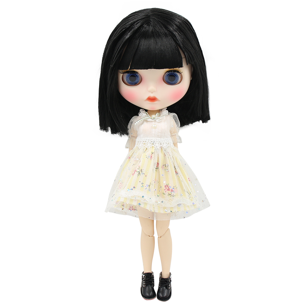 ICY factory blyth doll 1 6 bjd white skin joint body short golden hair new matte