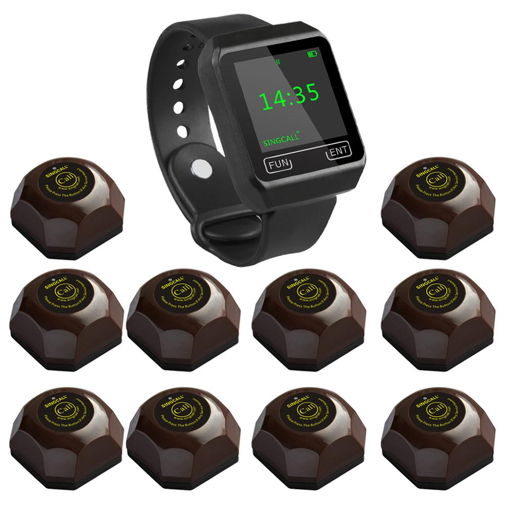 SINGCALL Wireless Coffee Calling System, restaurant guest pagers,aid call,1 Watch with 10 Buttons for Hotel Cafe Bar Restaurant hotel waiter call pagers wireless guest calling paging system for restaurant cafe ktv bar with one key transmitter button f3288b
