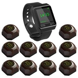 SINGCALL Wireless Coffee Calling System, restaurant guest pagers,aid call,1 Watch with 10 Buttons for Hotel Cafe Bar Restaurant