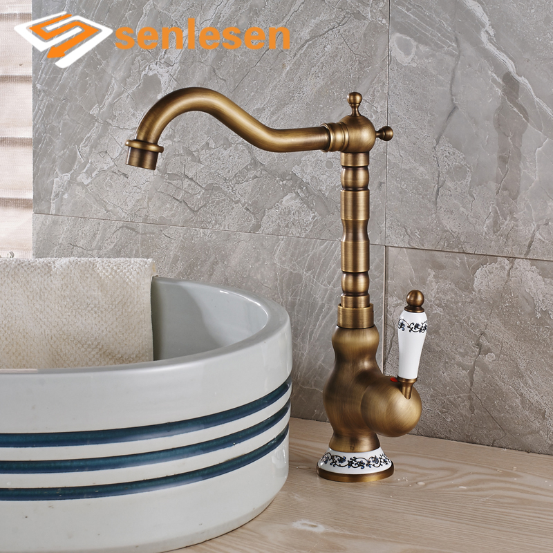 Wholesale And Retail Antique Brass Basin Faucet Blue and White Porcelain Single Handle Vanity Tap Countertop Faucet new bathroom antique brass tall single blue and white porcelain handle basin faucet g 902