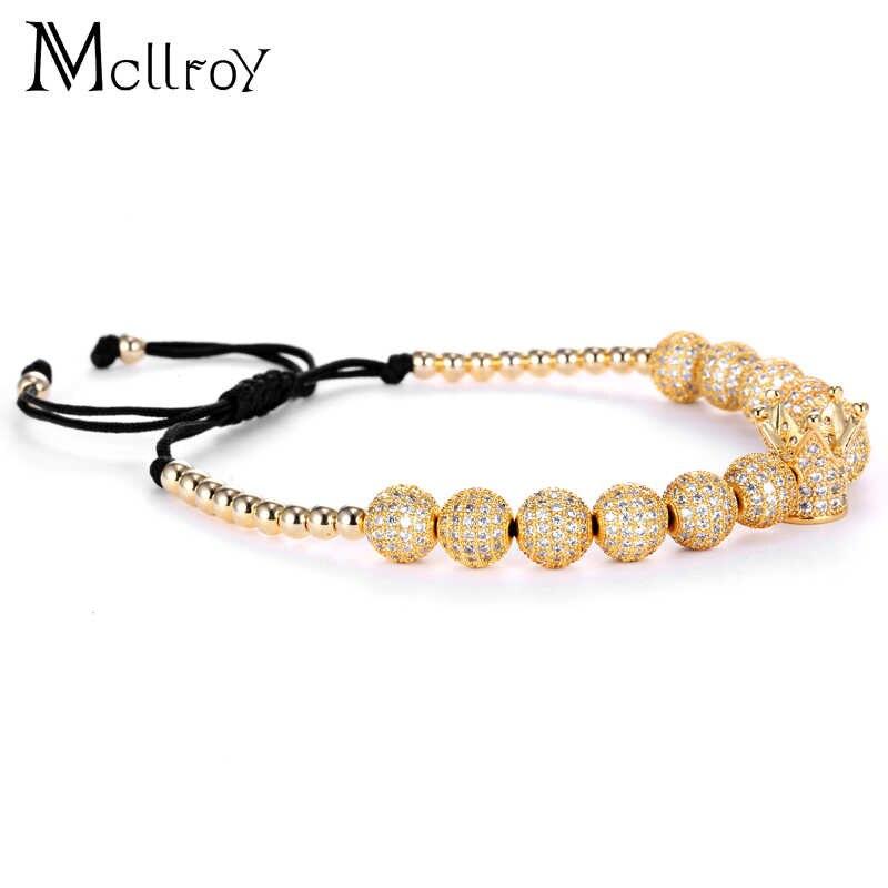 Mcilroy cyrkon bransoletki mężczyzn biżuteria sześcienne za pomocą tego narzędzia online bez Micro Pave CZ korona Charm 4mm okrągłe koraliki pleciona bransoletka makrame pulseira feminina