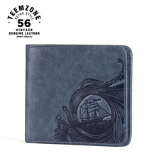 teemzone Ocean Men Genuine Leather Cowhide Bifold Horizontal Wallet ID Credit Card Holder Cash Receipt Holder Blue Wallet Q805