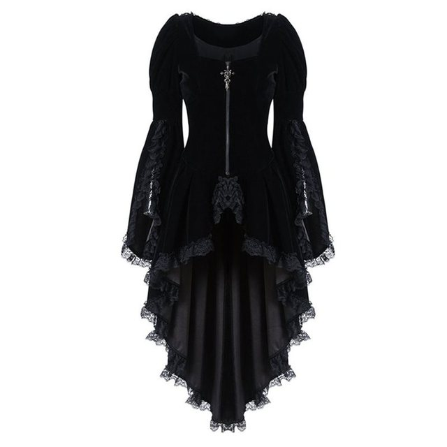 Autumn Elegant Plus Size Party Gothic Chic Long Blouse Women Red Slim Zipper Lace Plain Tops Female Vintage Fashion Goth Shirts