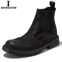 Trend Handmade Genuine Leather Autumn Men Boots Black Ankle Retro Casual cowhide Chelsea boots Botas Slip-on