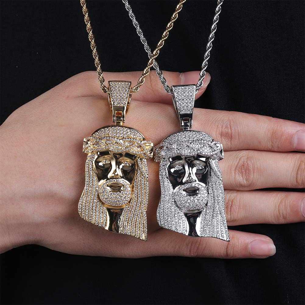 JINAO Новый лед из Иисуса Королла кулон хип хоп ювелирные изделия Мода CZ камень ожерелье для мужчин и женщин подарок