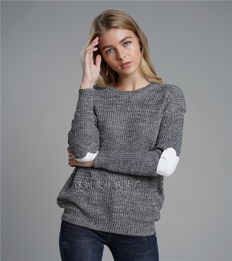 New Winter Sweater Women 2019 Long Sleeve Pullovers Gray Loose Knitted Sweaters Love Heart Female Jumper Tops Female Pull Femme