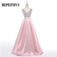 BEPEITHY Real Photo Beadings Bodice Long Evening Dress Backless Bright Satin Custom Made Cheap Prom Gowns