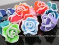 Free shipping Tibetan Silver Nice Clay Edge Rose Flower Spacer Bead