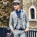 Марка Мужская Одежда Новая Осень мужчины костюм куртки плед однобортный костюм пальто мужские формальный свадебный костюм slim fit плюс размер костюм