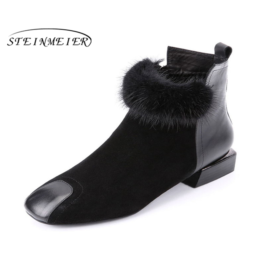 Steinmeier Fashion Suede Leather short Boots For Women Faux Suede Flat Mid-Calf Boots winter Women Boots Black Shoes women short wallet faux suede leather zipper