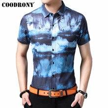 COODRONY Brand Streetwear Fashion Sky Pattern Men Shirt 2019 Summer Cool Short Sleeve Soft Cotton Casual Shirts S96059