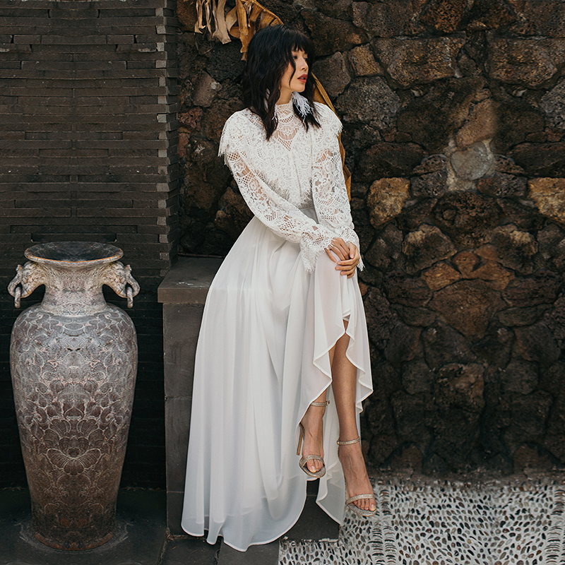 VERRAGEE women 2019 spring summer white lace dress Long maxi vintage Dress