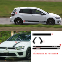 free shipping cool Racing Styling accent vinyl graphic striping decal kit for Volkswagen Golf 2016 on