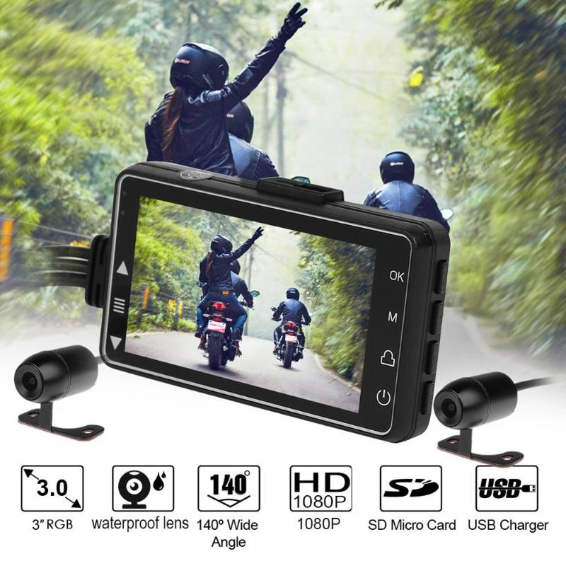 3 Inch Motorcycle Dash Cam Dual Lens Driving Recorder Front+Rear View HD Video Recorder Motorcycle DVR Camera G-sensor