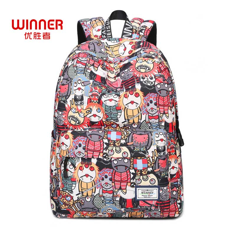 Winner Japan Style Cartoon Robot Waterproof Backpacks 2017 Female Printing Unique Design Casual Student Teenagers Book Bags