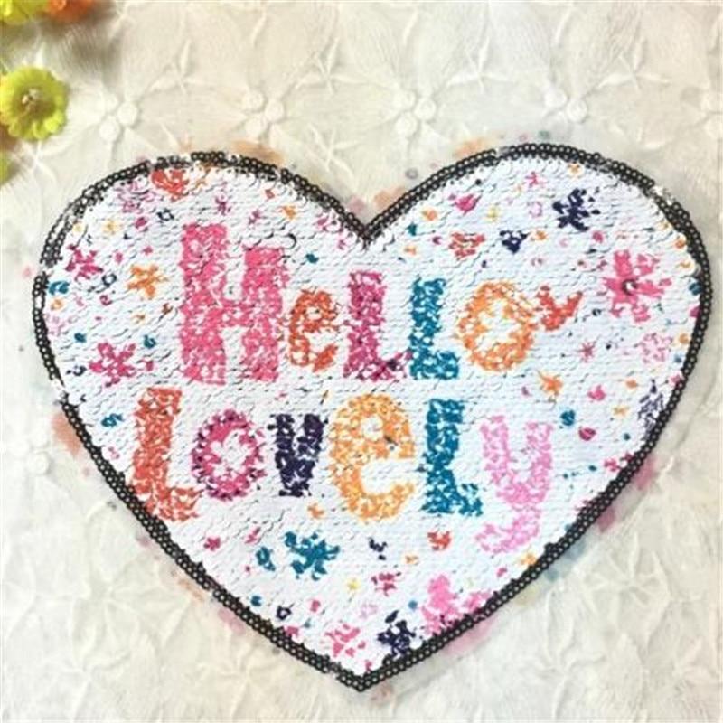 Для девочек Женская одежда патч иметь дело с ним 19 см сердце Hello прекрасный счастливые дни флип Двусторонняя блестками патчи для одежды