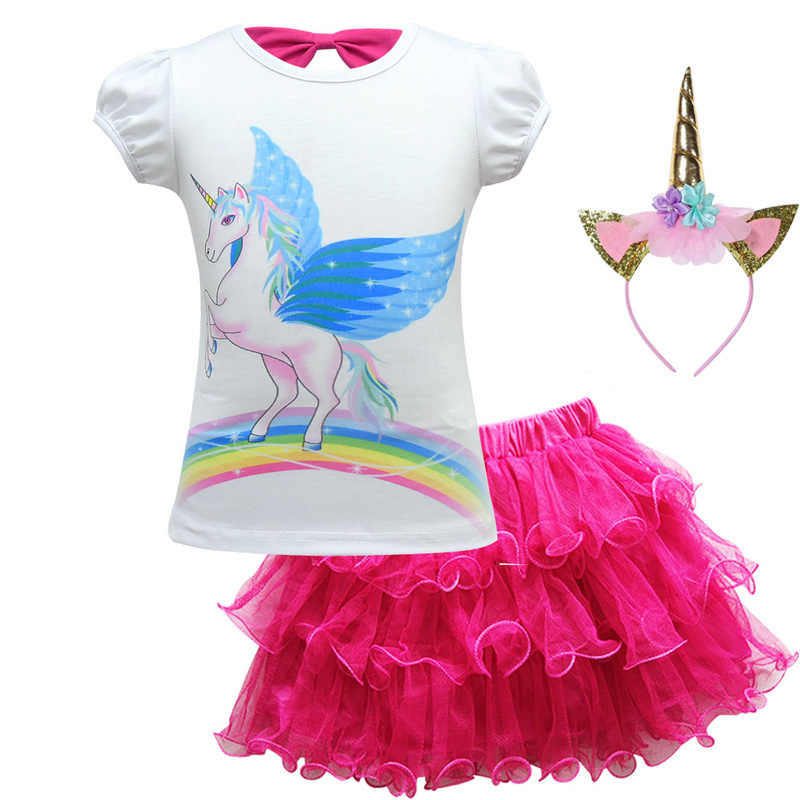 b093a1aab028 2019 Girl Clothes Set Baby Princess Short Sleeve Unicorn T-shirt +Tutu Skirt  Headband