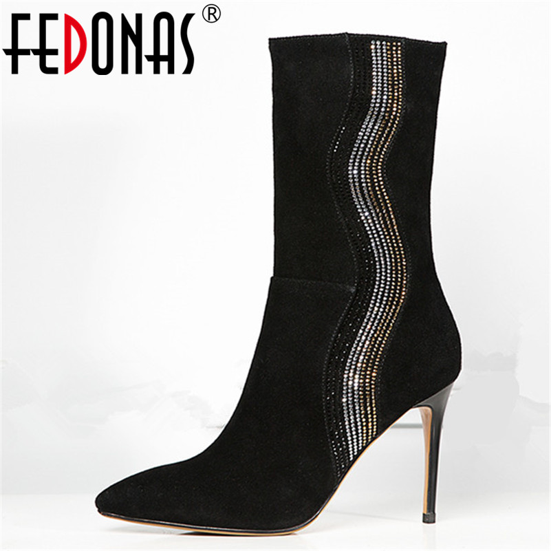 FEDONAS Women High Quality Glitters BlingBling Party Wedding Shoes Woman High Heels Pointed Toe Prom Pumps Sexy Mid-calf Boots FEDONAS Women High Quality Glitters BlingBling Party Wedding Shoes Woman High Heels Pointed Toe Prom Pumps Sexy Mid-calf Boots