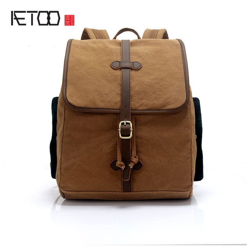 AETOO la nouvelle toile sac à bandoulière marée solide couleur sac à bandoulière étudiant sac de voyage sac à dos en gros loisirs ordinateur sac