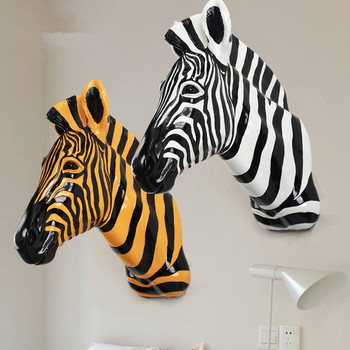 Zebra Horse Sculpture Animal Wildlife Spot Horse Pendant Wall Statue Resin Crafts Home Wall Hanging Decorations Furnishing R14