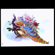 1 Piece Long Lasting Women Men Decal Elegant Peacock Colorful Feather Tattoo Sticker Design HB539 Temporary Tattoo Sexy Body Art