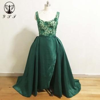 2020 Vestidos De Noite Dark Green Square Beaded Sequins Sleeveless Thigh  Sheath Evening Dresses with Overskirt