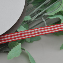 Upick 3/8″ 10mm Red One Roll Tartan Plaid Ribbon Bows Appliques Sewing Crafts 50Y