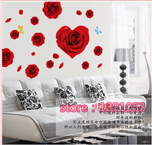 The new pattern of red roses marriage room wall stickers living room bedroom children's room sofa TV background decorative stick