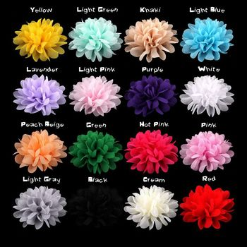 100pcs/lot Large Chiffon Flowers - 4 Inch Wedding Chiffon Petal Flowers - Headband Fabric Chiffon Flowers - Chiffon Puff Flower фото