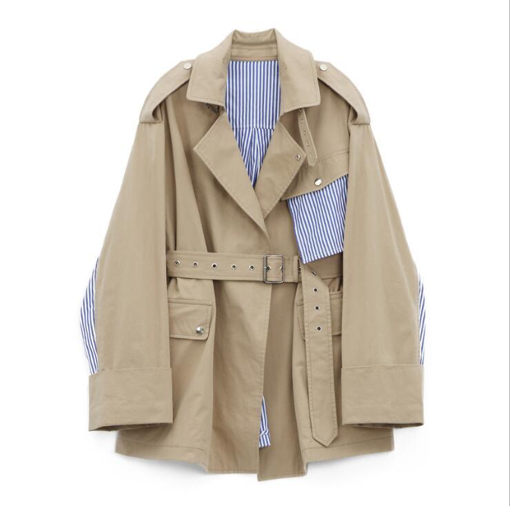 Coton Les Manteau Stripe 2018 Superaen Femmes Automne Manteaux Pour Lâche Coupe Tranchée Nouvelle Khaki Sauvage vent Splice Mode Europe Casual qaUaxEf