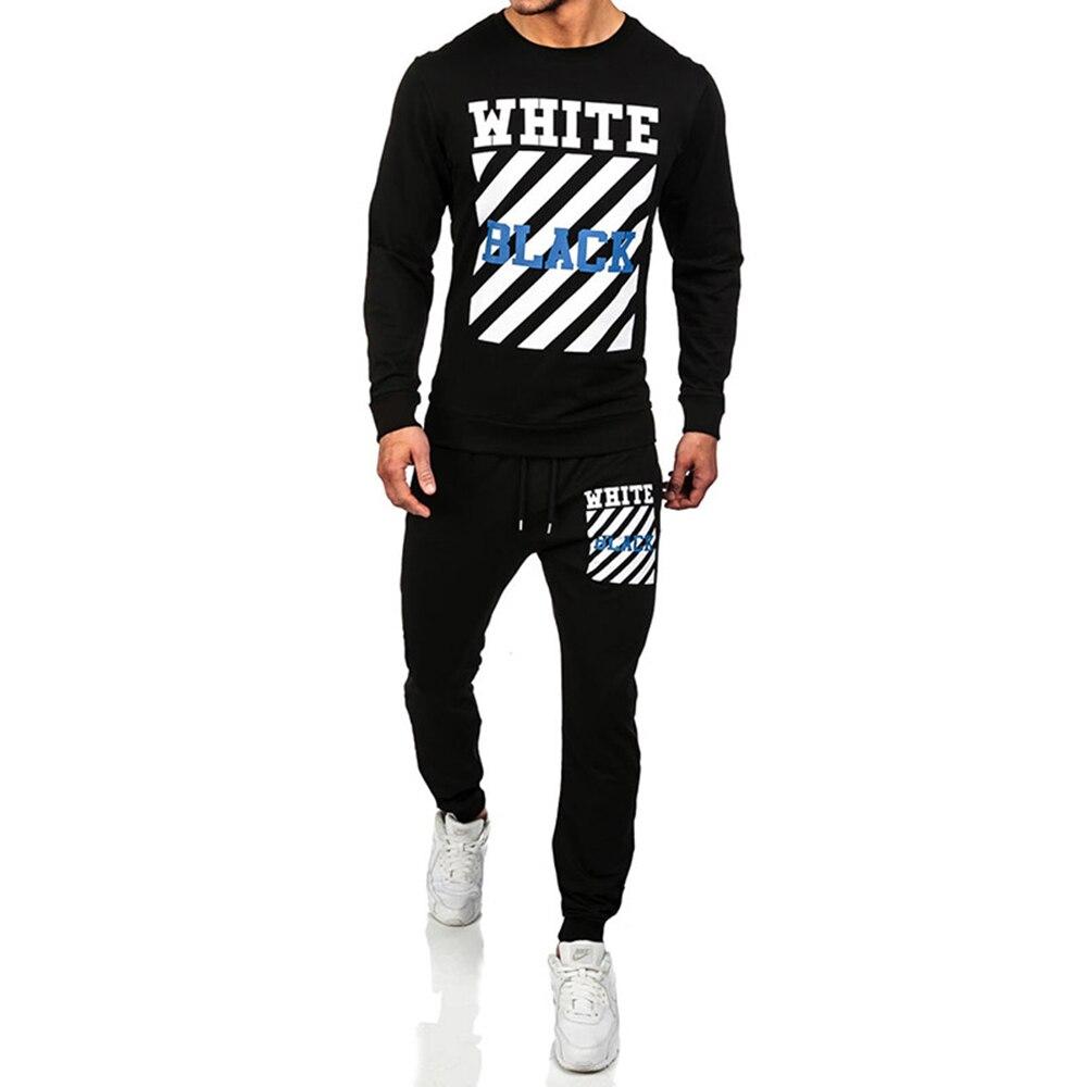Men Sets 2018 Fashion Long Sleeve Slim Sweat Suits Hoodies Tracksuit Sweatshirt Two Piece Trousers male jacket + Pants Exercise