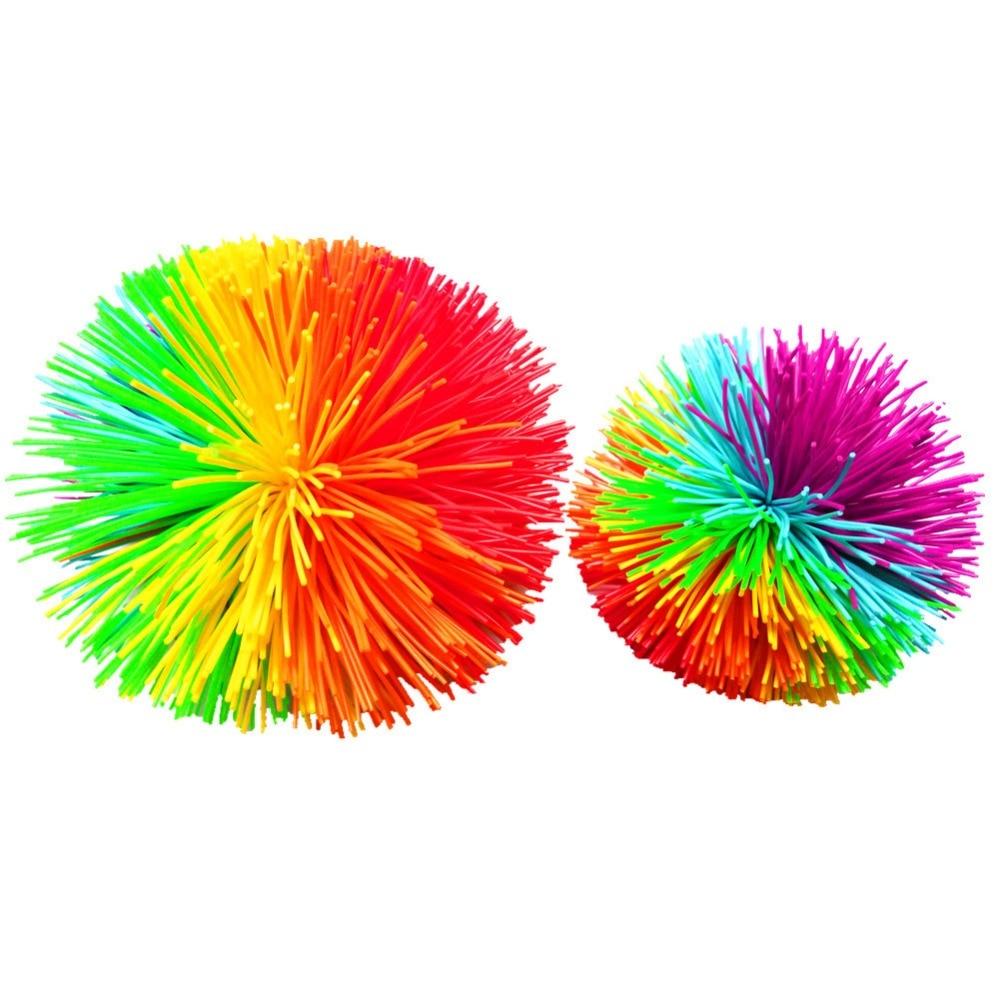 New Anti-Stress 6cm/9cm Rainbow Fidget Sensory Koosh Ball Stress Relief Kids Autism Special Needs Baby Funny Stretchy Ball