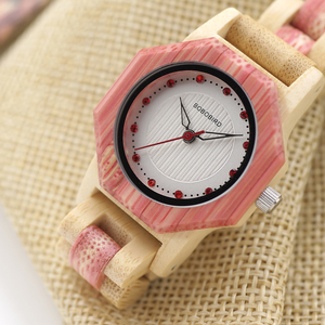 Image 5 - BOBO BIRD Newest Ladies Quartz Watches Octagon Natural Bamboo Watch Case Womens Brand in Wooden Box Dropshipping
