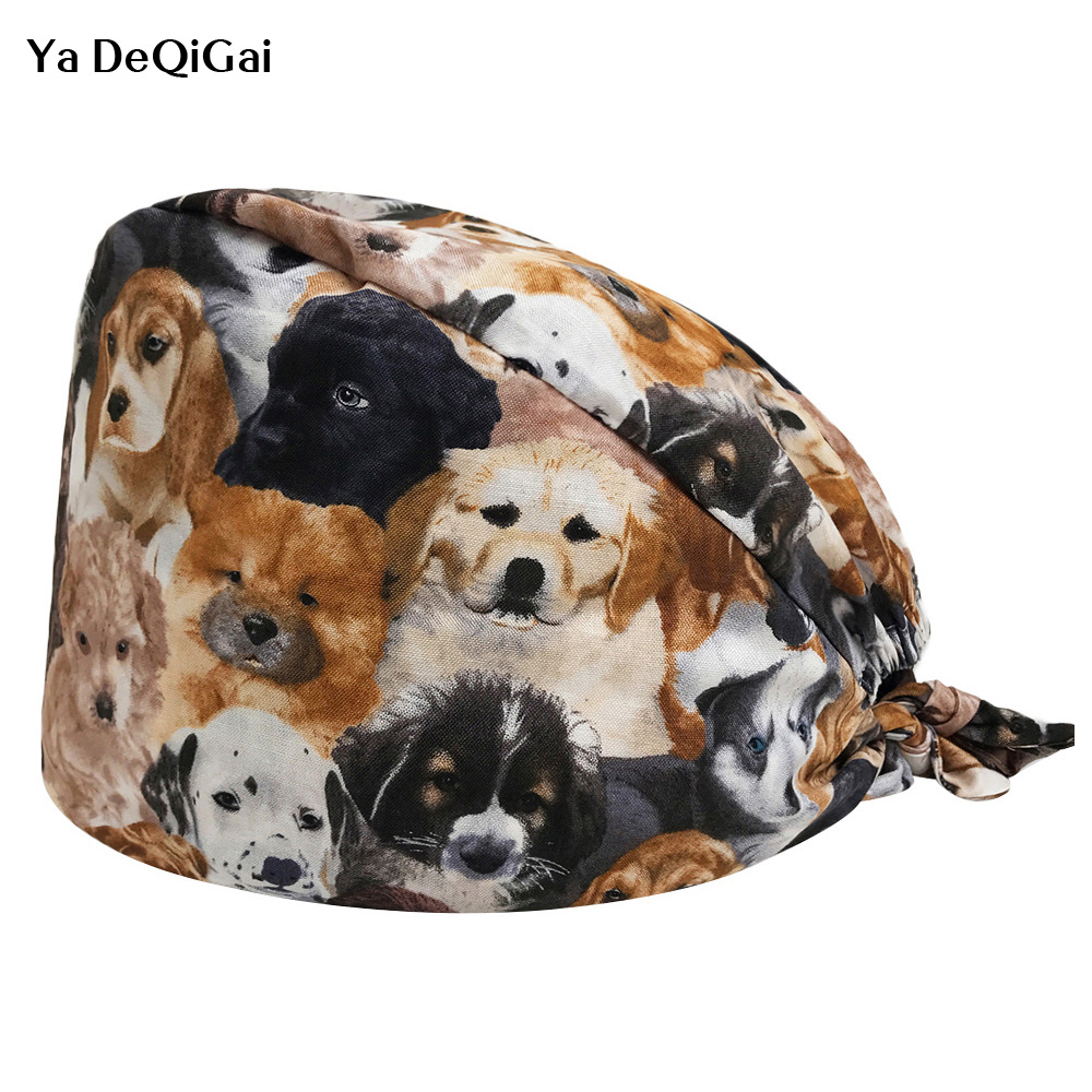 Unisex Dog Print Medical Scrub Cap Dentist Clinic Work Hats Nursing Scrubs Caps Adjustable Breathable Ultra Soft Surgical Caps