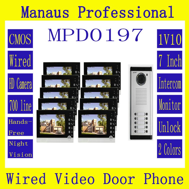 High Quality Smart Home 1V10 Intercom System One To Ten Video Doorbell 7 Inch Display 6 IR Lamps Cable Visible Interphone D197b