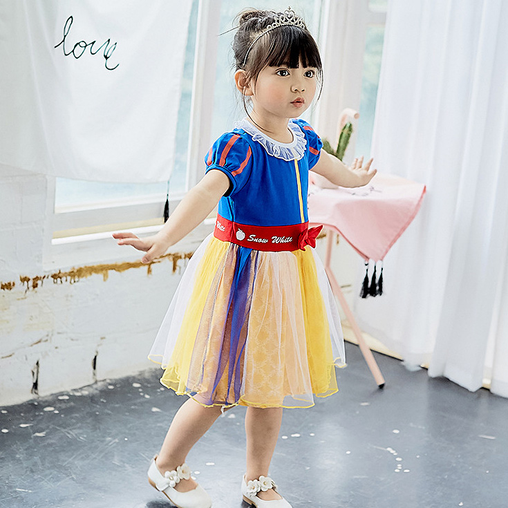 F5175 Fairy Halloween Brithday Patchwork Rainbow Princess Toddler Baby Girl Dress A-line Summer Kids Dresses For Girls Wholesale