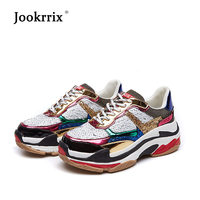 Jookrrix 2018 Autumn Girl New Fashion Brand Shoes Women Glitter Sneakers Cross tied Sequins Lady Platform Shoes Bling Breathable