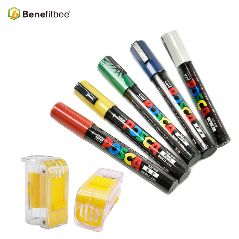 Benefitbee Bee Queen Marker Pen Durable 1PCS Queen Marking Pen 5 Colors For Beekeeping Tool With 1 New Marker Bottle