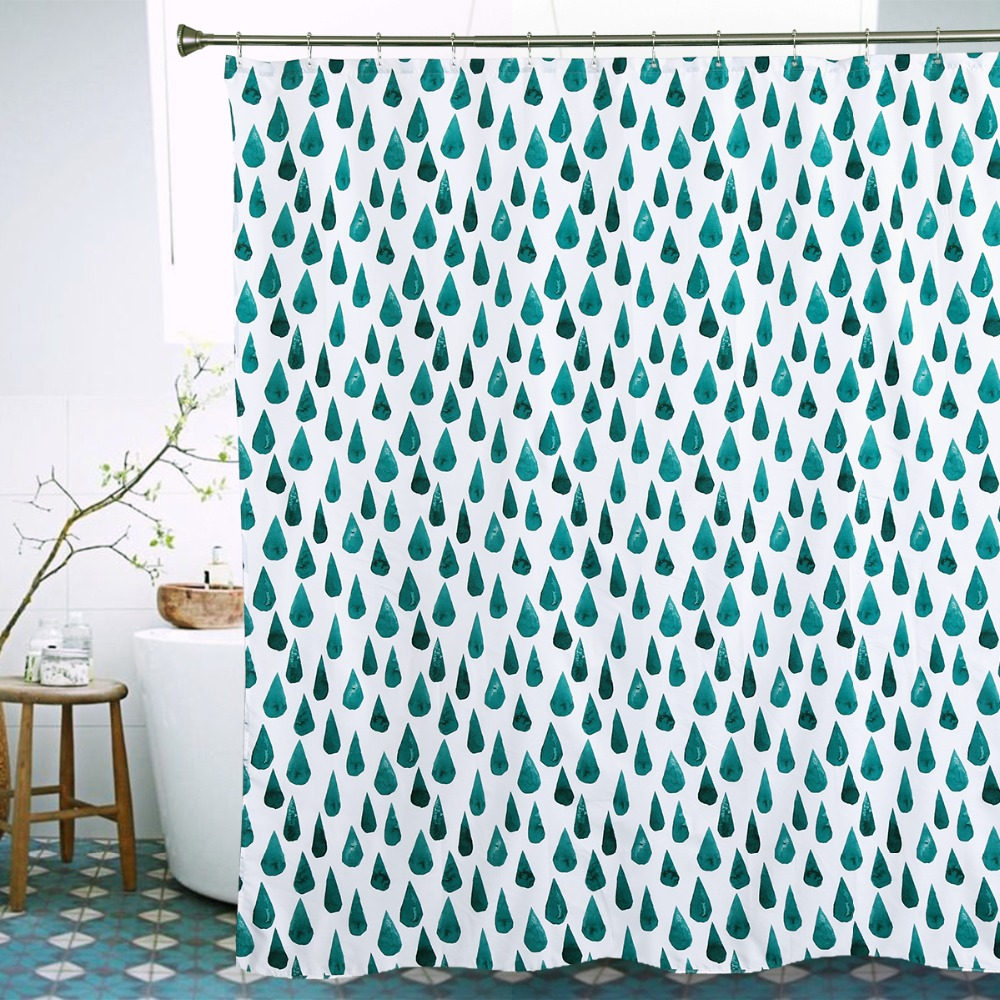 Creative European Style Raindrop Printing Shower Curtains Waterproof Bath Curtain Polyester Bathroom 72X78 Inch
