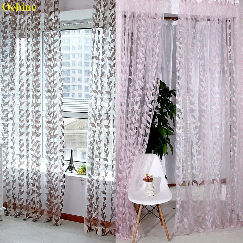 OCHINE 1M X 2M Door Window Scarf Sheer Leaves Printed Curtain Drape Panel Tulle Voile Valances Romantic Window Curtains Sheer