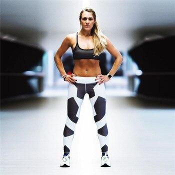 2019 Hayoha Geometry Printing Leggings Put Hip Elastic High Waist Legging Breathable Slim Pants
