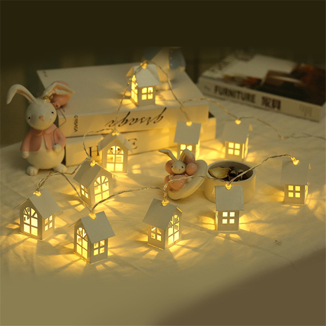 1.5 m 10 sztuk LED Świąteczne domek na drzewie Styl Fairy Światła Led String ślub natal Garland Nowy Rok ozdoby świąteczne dla domu