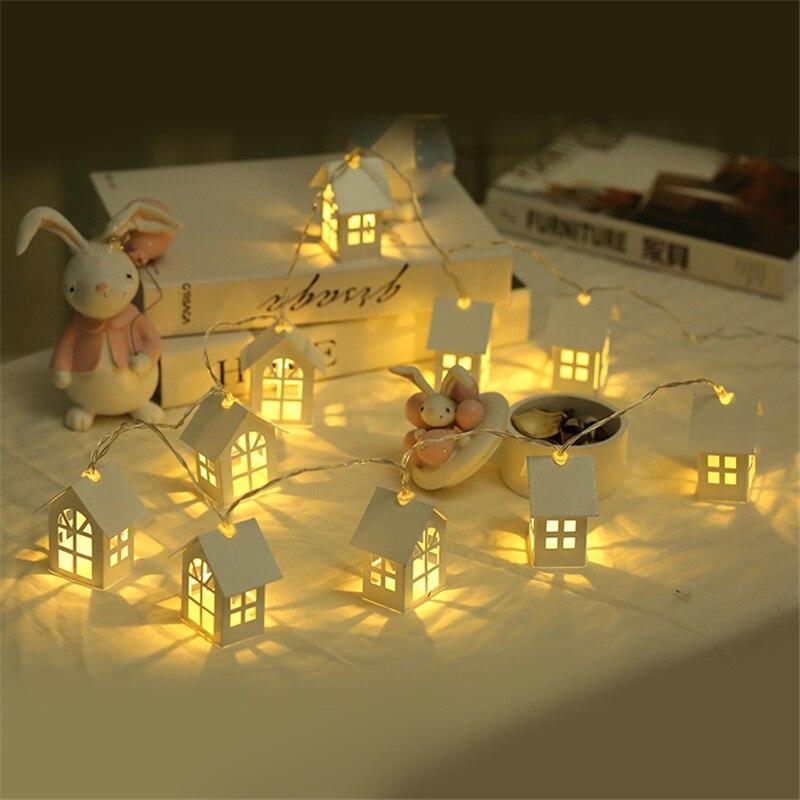 1,5 mt 10 stücke LED Weihnachten Baum Haus Stil Fee Licht Led String hochzeit natal Girlande Neue Jahr weihnachten dekorationen für home