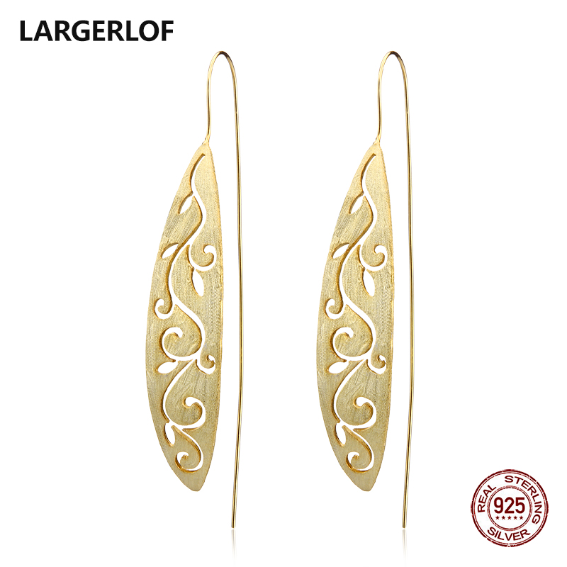LARGERLOF Real 925 Sterling Silver Earrings Women Handmade Fine Jewelry Leaf Hollow Drop Earrings For Women ED49026 metal leaf layered drop earrings