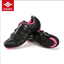 Santic Women Professional Bicycle Cycling Shoes Road Bike Shoes Auto-Lock Bicycle Shoes Sapatilha Ciclismo Riding Equipment