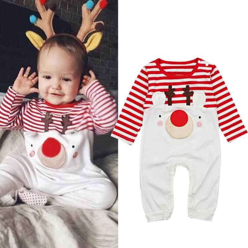 671928af25a New Year Boys Suit Clothes Cute Elk Stripe Christmas Rompers O-Neck Jumpsuit  for Baby